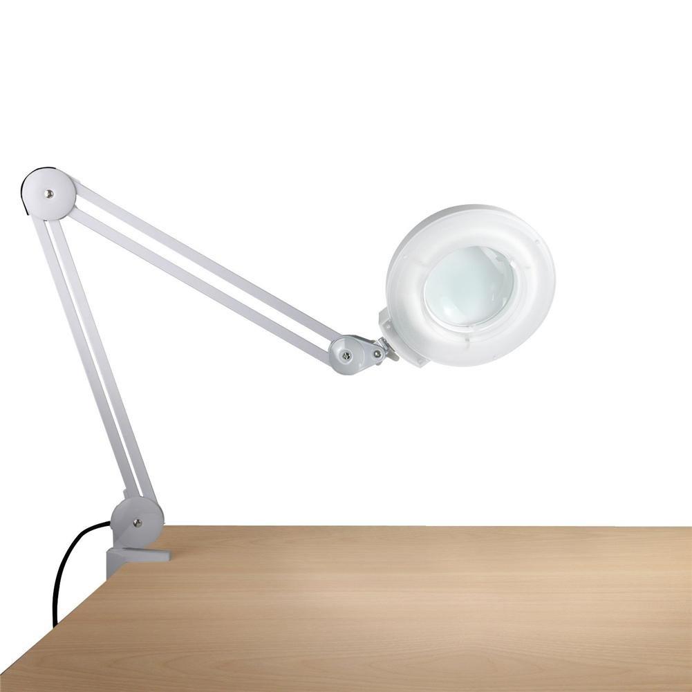 5X Schreibtisch Lupenleuchte Lupenlampe Arbeitsleuchte Bildschirmlupe Weiß Kalt Licht Werkbank Schreibtisch Klemme Montieren Einstellbar Schwenken & Swing Arm (Weiß)
