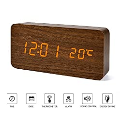 Wood Digital Clock---FiBiSonic Alarm Clock Home Slient Desk Clock Orange Screen Brown Wooden Alarm Clock Voice/Touch Control with Thermometer