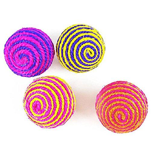 Vicky Spielzeug für Hunde/Katzen, Ball aus Seilmaterial, mit Rasselgeräusch, Sisal, Farbauswahl erfolgt zufällig