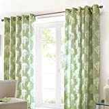 Fusion - Woodland Trees - 100% Cotton Ready Made Lined Eyelet Curtains - 66' Width x 90' Drop (168 x 229cm), Green