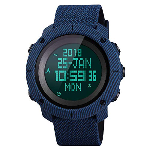 SKMEI Mens Digital Sports Watches, Military Compass Waterproof Watches Pedometer Stopwatch Countdown Wristwatch for Men