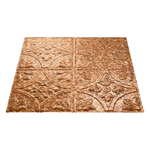 Fasade Easy Installation Traditional 2 Cracked Copper Lay In Ceiling Tile / Ceiling Panel (2' x 2' Tile) by FASÄDE (Image #1)