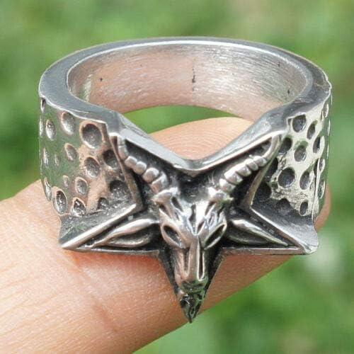 Ohdeal4U Baphomet Church of Satan Satanic Laveyan Pentagram Inverted Finger Ring Silver Pewter Metal