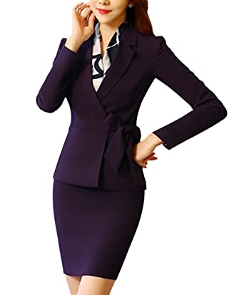 bab70f4175c9 SK Studio Damen Sakko Anzug Slim Fit Business Hoseanzug Rockanzug Karriere  Lange Ärmel Rock Blazer Kombinationen  Amazon.de  Bekleidung