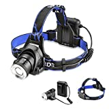 LED Headlamp RockBirds Flashlights, 3 Modes Headlight with Adjustable Focus and Belt, Water Resistant, Battery Powered Helmet Light for Camping, Running, Hiking