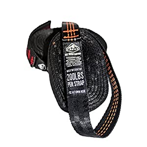 Trekk Hammock Straps - Tree-Friendly Suspension Straps that won't Stretch- Includes Carry Pouch (Black with Red Stitching)