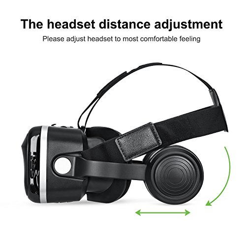 3D VR Glasses, HAMSWAN 3D VR Goggles VR Headset Virtual Reality Goggles Headset Glasses with Built-in Headset, Unique Design and Multifunction Button Compatible with Smartphones within 4.0-6.0 inch by HAMSWAN (Image #7)