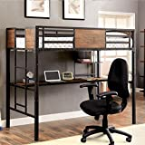 Clapton Metal Finish Twin Size Bunk Bed w/ Workstation
