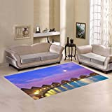 Love Nature Sweet Home Modern Collection Custom wood bridge sunset Area Rug 5'x3'3'' Indoor Soft Carpet