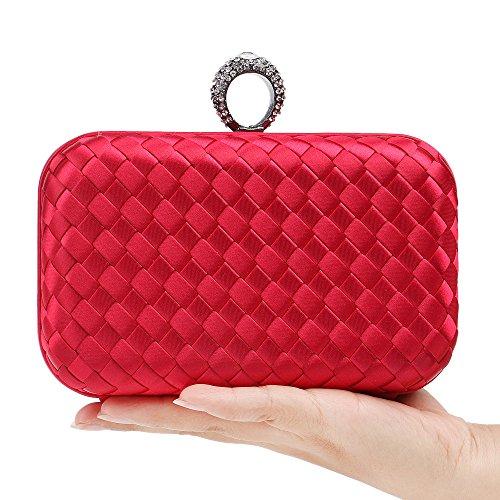 Evening Ladies Knit Temperament Bag Red Women Wild Dinner Bride Package Bag Cross Cosmetic Bag Dress Bag Shoulder Clutch qwY1At1
