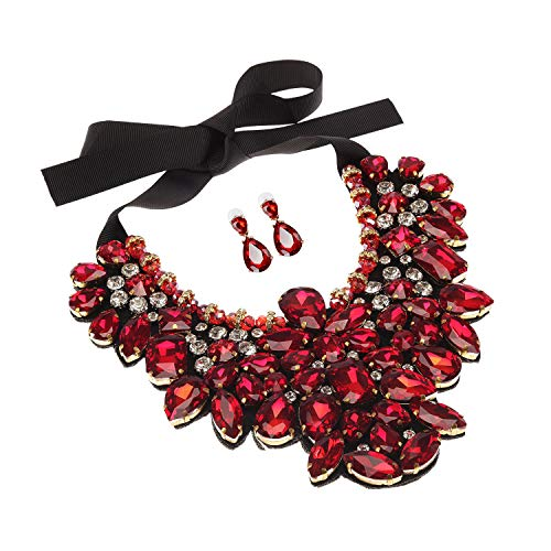 Holylove Red Costume Statement Necklace with Earrings for