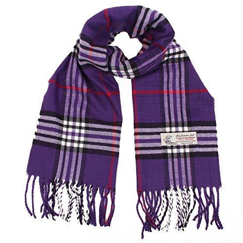 Plaid Cashmere Feel Classic Soft Luxurious Winter Scarf For Men Women (Purple)