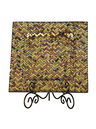 """13.75"""" Bronze and Gold Herringbone Glass Charger with Dec..."""