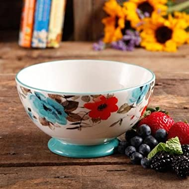 The Pioneer Woman 82712.04R Flea Market 6  Decorated Footed Bowls, Floral & Teal, Set of 4