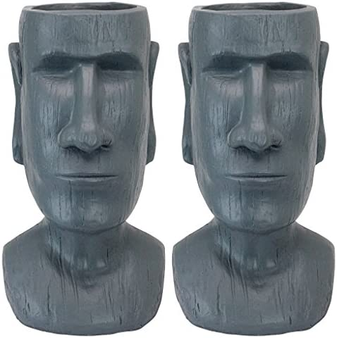 Design Toscano AL91917 Easter Island Planter Statue: Set of 2,greystone