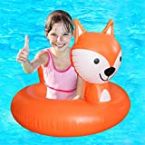 Inflatable Fox Pool Float Party Tube Pool Raft Summer Swimming Pool Outdoor Toy For Baby Infants & adults (Orange Fox)