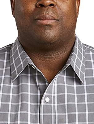 Amazon Essentials Men's Big & Tall Short-Sleeve Plaid Shirt fit by DXL