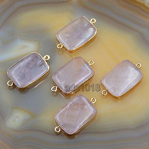 AD Beads Natural Druzy Quartz Agate Bracelet Necklace Connector Charm Beads Gold & Silver (Gold Rose Quartz Oblong 18x32mm)