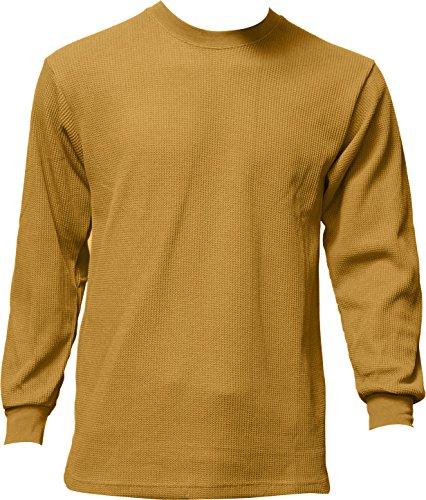 Men's Thermal Top Warm Winter 100% Cotton Many Colors, Khaki, - Base Butterscotch
