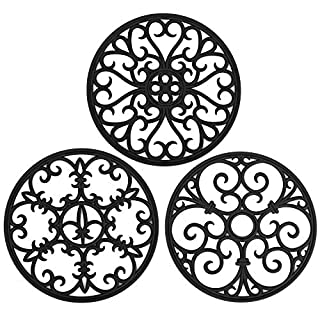 Non Slip Silicone Carved Trivet Mats Set For Dishes Pot Holders- Heat Resistant Coasters-Modern Kitchen Hot Pads For Pots & Pans   (Round, Set of 3, Black)