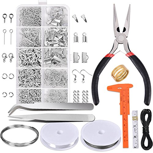 Paxcoo Jewelry Making Supplies Kit - Jewelry Repair Tool with Accessories Jewelry Pliers Jewelry Findings and Beading Wires for Adults and Beginners (Cap Screw Closure)