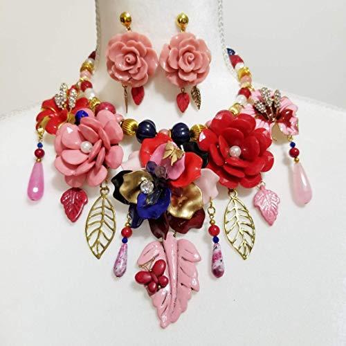 Floral Bib Enamel Gemstone Signed Necklace Earrings Betsey Johnson Flowers One of a Kind - Enamel Earrings Signed