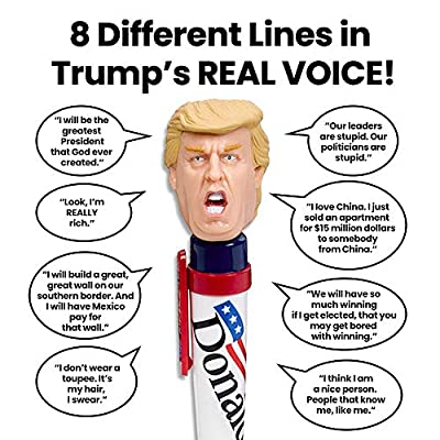 Donald Talking Pen, 8 Different Sayings, Trump's Real Voice, Just Click And Listen, Funny Gifts For Trump and Hillary Fans: Toys & Games