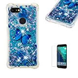 Funyye Liquid Glitter Case for Google Pixel 3 XL,Luxury Sparkly Floating Water Liquid Transparent Silicone TPU Case for Google Pixel 3 XL,Ultra Thin Crystal Rubber Durable Shell Bumper Back Protective Case for Google Pixel 3 XL + 1 x Free Screen Protector,Blue Butterfly