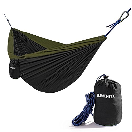 Parachute Nylon Travel Hammock - ELEMENTEX Portable Parachute Nylon Travel Camping Backpacking Hammock - Large Black & Green
