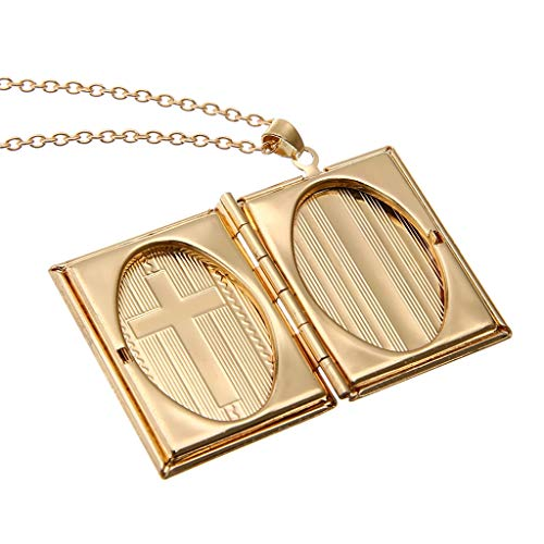 - ❤SU&YU❤Square Book Shape 2 Slot Photo Frame Pendant Necklace Jewelry Gift Solid Gold