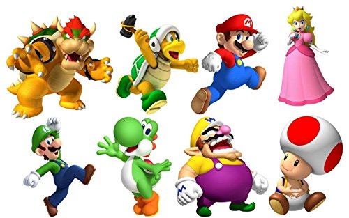 SUPER MARIO BROS 8 CHARACTERS SET Decal WALL STICKER Home Decor Art ()