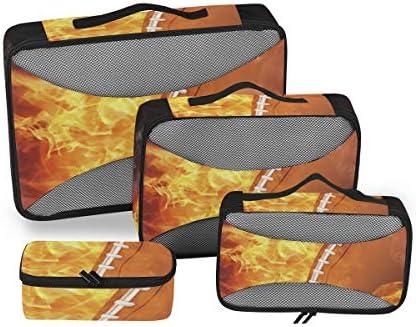 トラベル ポーチ 旅行用 収納ケース 4点セット トラベルポーチセット アレンジケース スーツケース整理 燃える サッカー 収納ポーチ 大容量 軽量 衣類 トイレタリーバッグ インナーバッグ