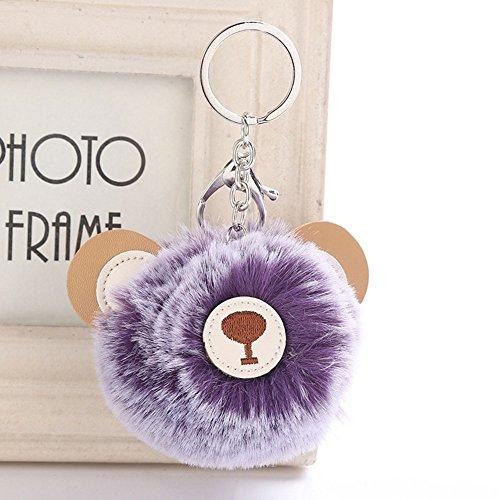 CHUANGLI Cute Faux Fur Ball Pom Pom Keyring PU Bear Keychain Pendant Women  Girls Car Bag e6a6632006