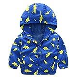 lymanchi Kids Baby Boy Casual Windbreaker Outerwear Dinosaur Printed Zipper Hooded Jackets Coat Blue Dinosaur 5T