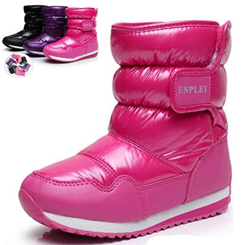DADAWEN Boy's Girl's Outdoor Waterproof Cold Weather Fur Lined Snow Boots (Toddler/Little Kid/Big Kid)