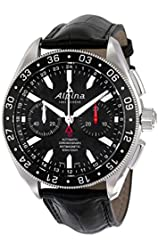 Alpiner 4 Chronograph Automatic Black Dial Leather Mens Watch AL-860B5AQ6