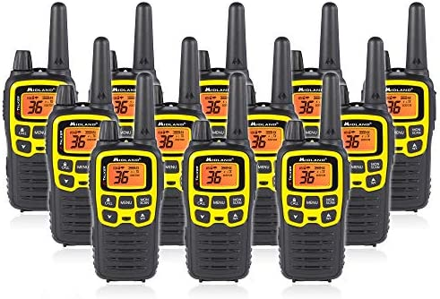 Midland T61VP3 36 Channel FRS Two-Way Radio – Up to 32 Mile Range Walkie Talkie – Yellow Black Pack of 12
