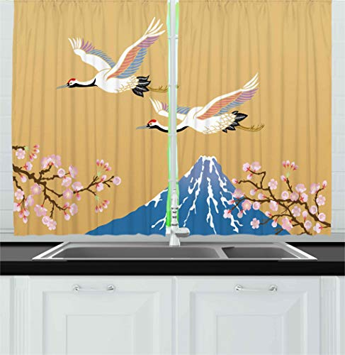 Ambesonne Asian Kitchen Curtains by, Japanese Crane Flying Fuji Mountain and Cherry Blossoms Ethnic Design, Window Drapes 2 Panels Set for Kitchen Cafe, 55W X 39L Inches, Violet Blue Mustard Pink
