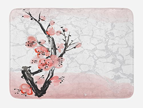 Lunarable Floral Bath Mat, Japanese Cherry Blossom Sakura Tree Branch Soft Pastel Watercolor Print, Plush Bathroom Decor Mat with Non Slip Backing, 29.5 W X 17.5 W Inches, Coral Pale Pink Grey