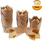 Hestya 150 Pieces Tulip Muffin Baking Cups Cupcake Muffin Liners Baking Cup Holder (Natural Color)