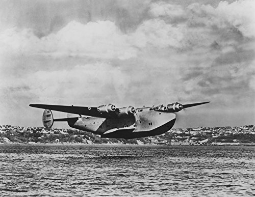 Boeing 314 China Clipper Over Water Airplane - Vintage Photograph (24x36 Fine Art Giclee Gallery Print, Home Wall Decor Artwork Poster)
