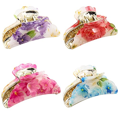 Kaide Florals Pattern Plastic Acrylic Claw Hair Clip Clamp,Jaw Hair clip Barrette for Girls and Women