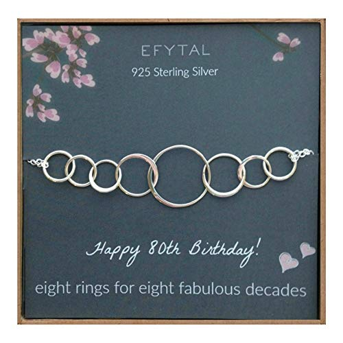 80th Birthday Bracelet - Eight Rings for Eight Decades