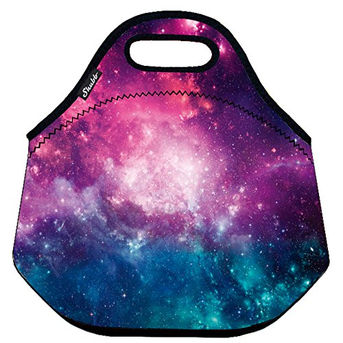 Shubb Lunch Bags, Insulated Lunch Bag, Neoprene Lunch Tote Boxes for Women, Girls, Kids - Purple Galaxy (Galaxy Brands Bag)