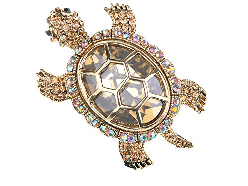 Turtle Broach - Alilang Golden Tone Light Brown Iridescent Colored Rhinestones Turtle Tortoise Shell Brooch Pin