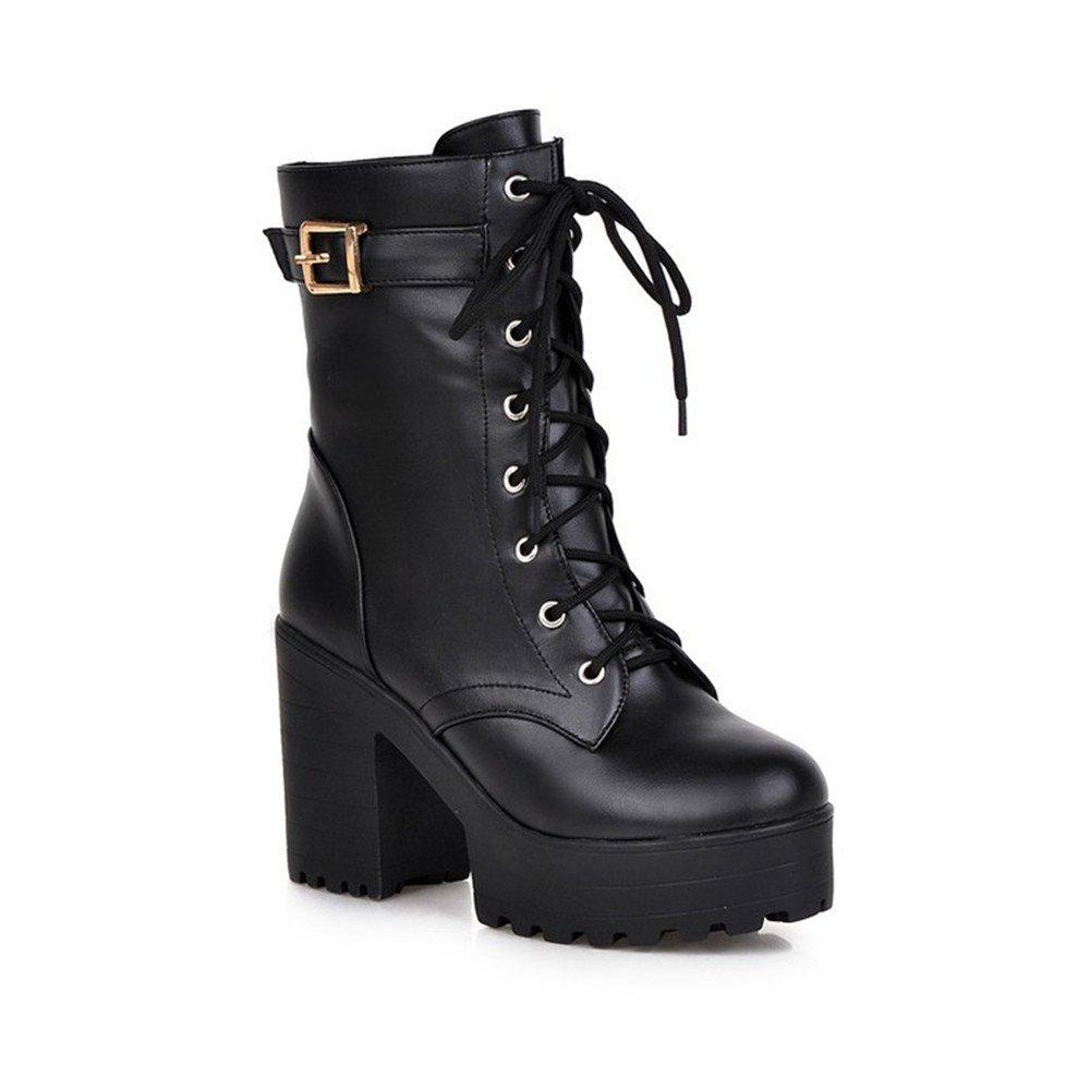 Qiangsoo Women's Lace-up Buckle Boots Combat Platform Chunky Heel Martin Boots B074TFMHFX 9 B(M) US|Black