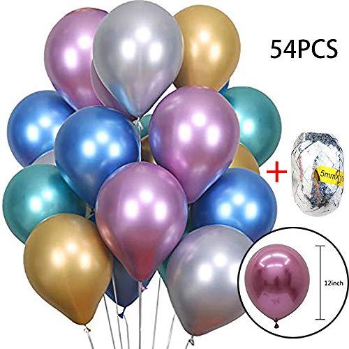 (❤️MChoice❤️54 Pcs 12inch Chrome Shiny Metallic Latex Balloons for Birthday Wedding Grad Party)