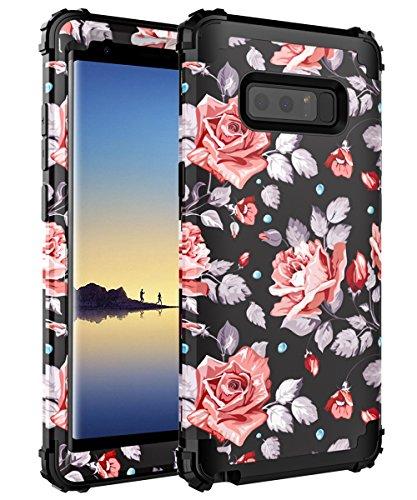 OBBCase Samsung Galaxy Note 8 Case,Three Layer Heavy Duty Hybrid Sturdy Armor High Impact Resistant Protective Cover Case For Samsung Galaxy Note 8 2017 Release Rose Flower/Black