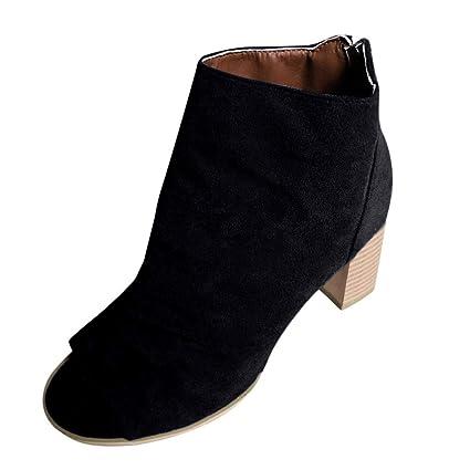 0cdb1fc8d0e Amazon.com: Tsmile Women Ladies Fashion Fish Mouth Ankle Boots ...