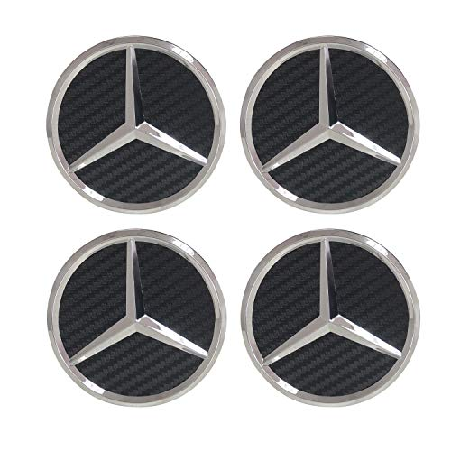 Carhome01 Set of 4 Wheel Center Rims Hub Caps for Mercedes-Benz,75mm Black Carbon hubcaps Cover Car Logo Chrome Emblem Fit Benz C ML CLS S GL SL E CLK CL ()